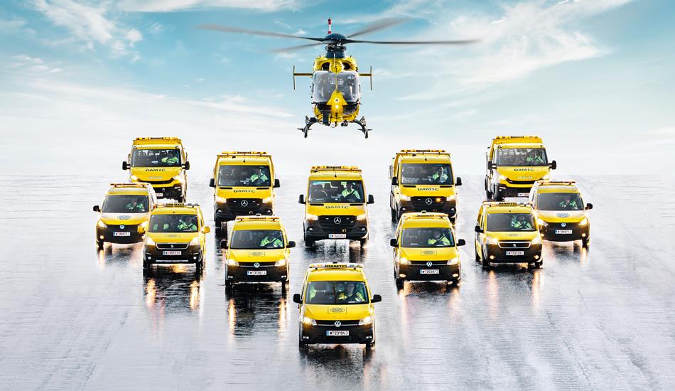 ÖAMTC Flotte gelbe PKW Transporter Hubschrauber ÖAMTC Partner 123Consulting