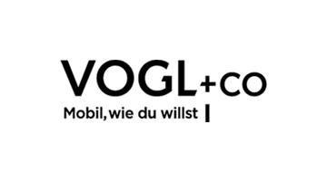 Vogl+Co Logo mit Schriftzug Mobil, wie du willst schwarz weiß