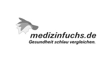 Medizinfuchs.de Logo mit grauem Fuchs und schwarzem Schriftzug Gesundheit schlau vergleichen